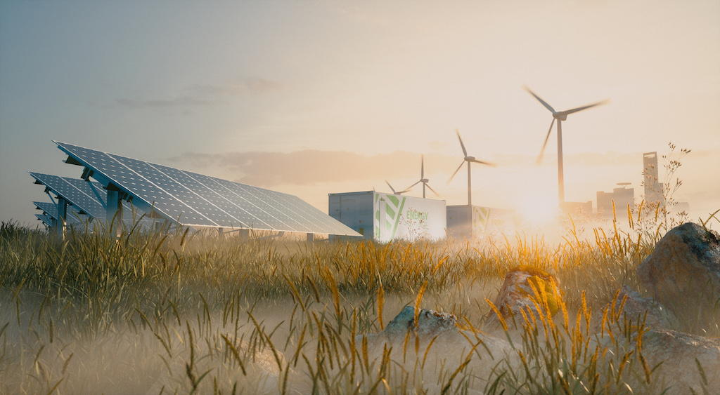 Concept of renewable energy solution in beautiful morning light. Installation of solar power plant, container battery energy storage systems, wind turbine farm and city in background. 3d rendering.
