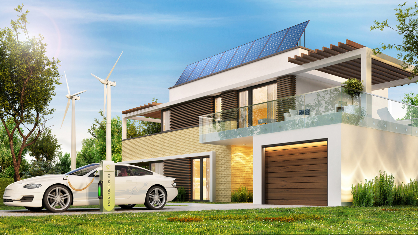 Ecological home with solar panels and electric car