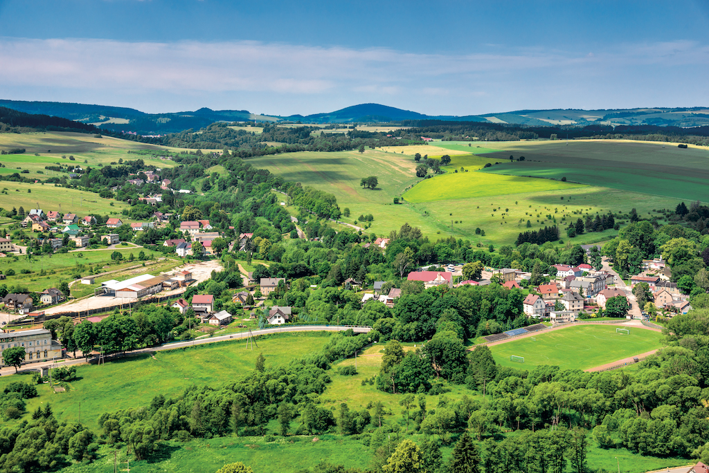 Aerial,View,Of,Rural,Landscape,In,Mountain,Valley,,Town,And